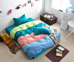 green blue pink yellow striped bedding comforter set bedroom sets queen king size duvet cover bed fitted sheet bedspread cotton bedsheet home texile brand