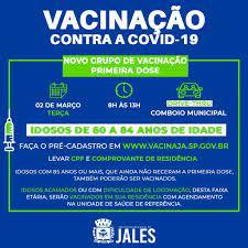 Vacinação para idosos com idades entre 80 e 84 anos começará no próximo dia  01 de março – Jales