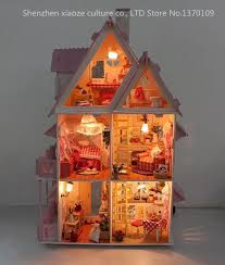 diy model sunshine alice doll house free shipping assemble villa doll homewood doll furniture cheap doll houses with furniture