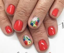 Red And Yellow Nail Designs Orange Red Yellow Blue Floral Pretty Nails Acrylic Nails