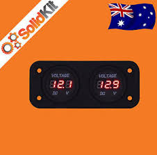 12 volt battery gauge dual battery monitor digital volt meter led 12v 24v dc boat marine agm