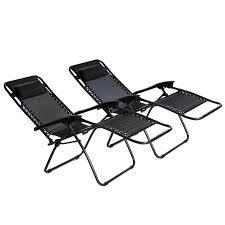 2x Folding Reclining Garden Deck Chair Sun Lounger Zero Gravity