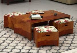 wood design furniture. Wood Coffee Table With Seating Stool Bangalore Design Furniture