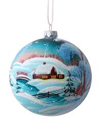 Winter Ball Decorations Christmas Ball With Drawing Rustic Winter Landscape Stock Image 80