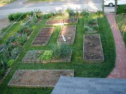 backyard garden. Raised Small Backyard Vegetable Garden Ideas In Rectangle Wooden Containers Over Green Grass Yard Around K