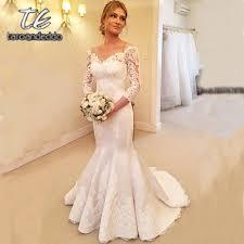 Us 135 0 Off Shoulder Wedding Dresses Mermaid Floor Length Sweep Train Three Quarter Sleeve Bridal Dress With Buttons Vestido De Noiva In Wedding