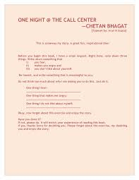 chetan bhagat one night at the call center all chapters