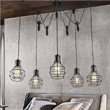 industrial style home lighting. loft industrial style diy lifter iron cage pendant lights bar counter wire lamp home decor lighting b