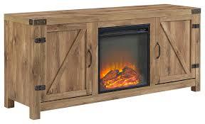 58 barn door fireplace tv stand barnwood