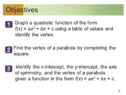 3 objectives graph a quadratic function of the form f x ax 2