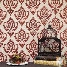 Small Picture Ethnic Ikat Damask Stencil Pattern for Walls Furniture