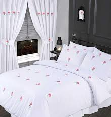 white pink colour stylish embroidered fl duvet cover luxury beautiful cotton bedding 9201 p jpg
