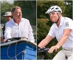 FOTO&VIDEO Klaus Iohannis e într-o formă de zile mari. Imagini inedite cu preşedintele în barcă, în delta de la Comana, şi pe bicicletă, spre Cotroceni