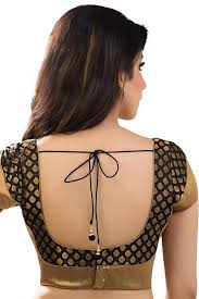 U Neck Saree Blouse Design Black Antique Gold Banarasi Brocade Festive Wear Blouse
