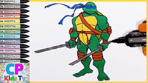 ninja turtles coloring pages leonardo. Perfect Leonardo Leonardo Ninja Turtles Coloring Pages For Kids 7  How To Color  In