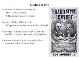 election of 1876 election of 1876 rutherford b hayes r from ohio three term