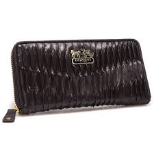 New Arrival Coach Accordion Zip In Gathered Twist Large Coffee Wallets CCK  stock clearance sale