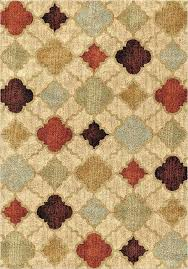 modern area rug shades of beige red burdy brown blue green ivory light brown