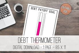 Thermometer Template New Debt Thermometer Tracker Printable Debt Tracker Debt Etsy