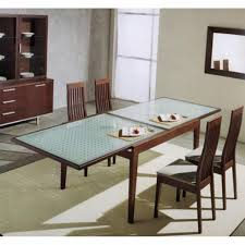 round glass extendable dining table: expandable dining table set with glass table and wooden chair on wheat carpet for inspiring dining