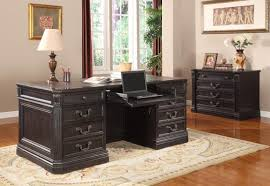grand manor palazzo double pedestal executive desk in vintage burnished black finish by parker house gpal 9080 3
