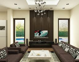 Living Room  Brown Living Room With U Shaped Sofa In Cream Tone - Painted living rooms