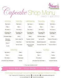 Cupcake Shop Menu Plan For A Week Specific Flavors A Certain Days