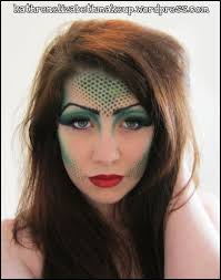 mermaid make up fishnet over face then spray on makeup or blot with brushes sponges