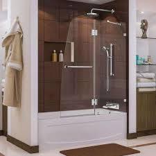 frameless hinged tub door in chrome