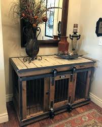 Farmhouse Style Single Dog Kennel Crate Barn Door Furniture Crates