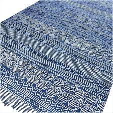cotton flatweave rug cotton rugs blue block print accent area rug flat weave hand woven 3 x 5 cotton flat weave area rug