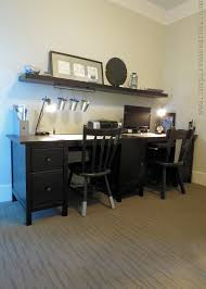 double desks for home office. Double Desk With Drawers Storage Added Antique Wooden Rail Back Chairs As Well Floating Shelf Hook Also Reading Lamps In Contemporary Home Office Desks For