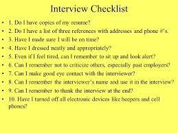 Employer Interview Checklist Chapter 8 Interviewing For A Job And Writing A Resume Ppt Download