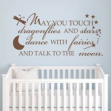 may you touch dragonflies and stars nursery wall decal vinyl moon and stars wall sticker nursery wall quote wall graphic baby room art decoration black  on stars nursery wall art with may you touch dragonflies and stars nursery wall decal vi
