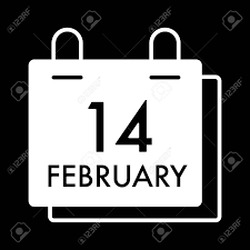 Valentine Day Concept Simple White Calendar Vector Icon With