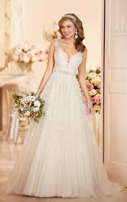 a line wedding dress with plunging neckline stella york