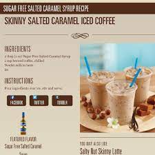 Iced cold brew coffee with milk and a touch of vanilla syrup is drizzled with caramel sauce for a cooling drink on warm summer days. Skinny Salted Caramel Iced Coffee With Torani Torani Coffee Saltedcaramel Torani Recipes Salted Caramel Syrup Recipe Salted Caramel Recipes