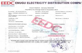 Typical Nigerian Eedc Energy Bill Format Authors Sample 2016