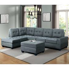 bright designs 3 piece sectional sofa microfiber with reversible chaise lounge storage ottoman and