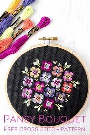 Modern Cross Stitch Patterns Fascinating Free Cross Stitch Pattern Pansy Bouquet On Black Modern Cross