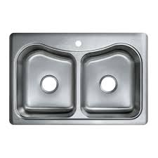 staccato drop in stainless steel 33 in 1 hole double bowl kitchen sink