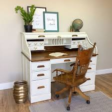 vintage roll top desk solid wood desk country cottage furniture distressed desk home desk white wood desk large desk