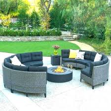 circular outdoor couch sectional curved cushions fire pit sofa set now rounded patio replacement