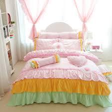 New Bed Sheet Design Sets Us 87 21 10 Off 100 Cotton Korean Princess Style Handmade Lace Flower Design Duvet Cover Bed Sheet Set Bed Skirt Design Girl Bedding Set In Bedding