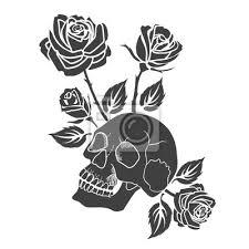 Fototapeta Lidská Lebka A Růže Tetování Vektorové Ilustrace