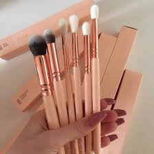 pink and gold makeup brushes. make-up makeup brushes rose gold cooper pink lovely cute zoev zoeva white and r
