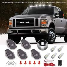 2019 F250 Smoked Cab Lights 5x Black Smoked Cab Marker White Lights Assembly Hocolo Roof Running Rhombus Black Lens Covers White T10 Led Bulbs Replacement Switch For 1973 1997
