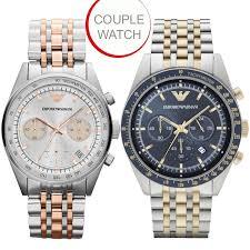 emporio armani sportivo couple watch duel tone chronograph bo deal