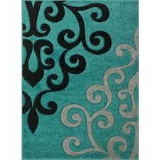 teal black rug