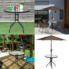 24 patio round table tempered glass